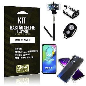 Bastão de Selfie Bluetooth Moto G8 Power + Capinha Anti Impacto +Película Vidro - Armyshield