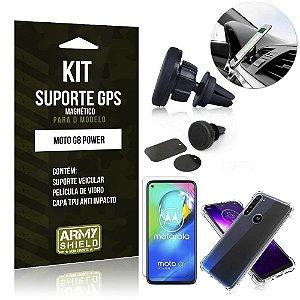 Kit Suporte Veicular Magnético Moto G8 Power Capinha Anti Impacto +Película Vidro - Armyshield