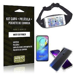 Pochete Moto G8 Power + Capinha Anti Impacto + Película de Vidro Blindada - Armyshield