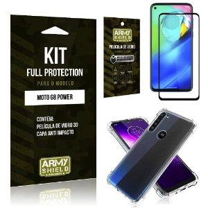 Combo Full Protection Moto G8 Power Película de Vidro 3D + Capa Anti Impacto - Armyshield
