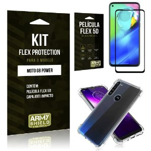 Kit Flex Protection Moto G8 Power Capa Anti Impacto + Película Flex 5D - Armyshield