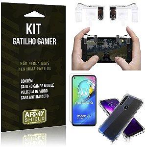 Kit Gatilho Gamer Moto G8 Power Gatilho + Capa Anti Impacto + Película Vidro - Armyshield