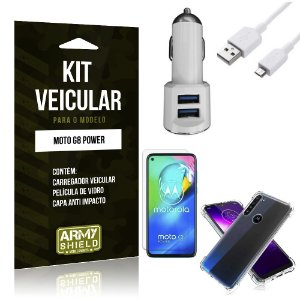 Kit Carregador Veicular Tipo C Moto G8 Power + Película Vidro + Capa Anti - Armyshield
