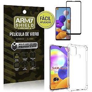 Película 3D Full Cover Fácil Aplicação Galaxy A21s + Capa antishock - Armyshield