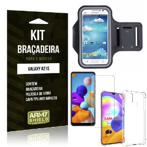 Braçadeira Sporte Galaxy A21s + Capinha Anti Impacto + Película de Vidro - Armyshield