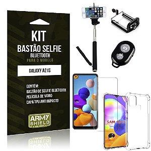 Bastão de Selfie Bluetooth Galaxy A21s + Capinha Anti Impacto +Película Vidro - Armyshield