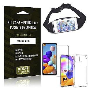 Pochete Galaxy A21s + Capinha Anti Impacto + Película de Vidro Blindada - Armyshield