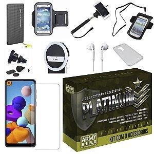 Kit Platinum Galaxy A21s com 9 Acessórios e PowerBank Tipo C - Armyshield
