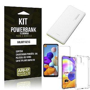 Carregador Portátil 10.000Mah Galaxy A21s + Capinha + Película Vidro - Armyshield