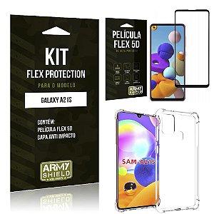 Kit Flex Protection Galaxy A21s Capa Anti Impacto + Película Flex 5D - Armyshield