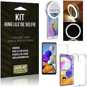 Kit Flash Ring Galaxy A21s Flash Ring + Capa Anti Impacto + Película de Vidro - Armyshield