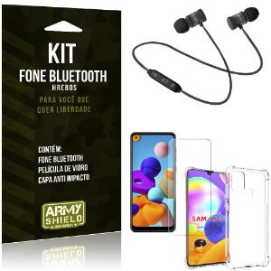 Kit Fone Bluetooth Hrebos Galaxy A21s + Capa Anti + Película Vidro - Armyshield