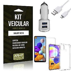 Kit Carregador Veicular Tipo C Galaxy A21s + Película Vidro + Capa Anti - Armyshield