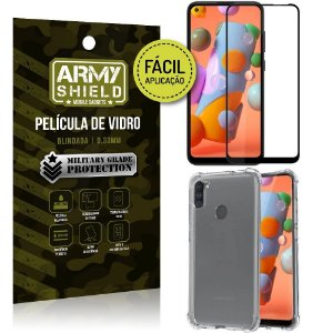 Película 3D Full Cover Fácil Aplicação Galaxy A11 + Capa antishock - Armyshield