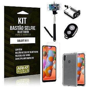Bastão de Selfie Bluetooth Galaxy A11 + Capinha Anti Impacto +Película Vidro - Armyshield