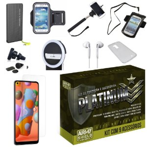 Kit Platinum Galaxy A11 com 9 Acessórios e PowerBank Tipo C - Armyshield