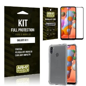 Combo Full Protection Galaxy A11 Película de Vidro 3D + Capa Anti Impacto - Armyshield