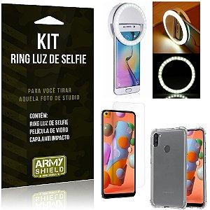 Kit Flash Ring Galaxy A11 Flash Ring + Capa Anti Impacto + Película de Vidro - Armyshield