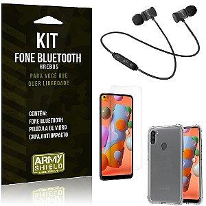 Kit Fone Bluetooth Hrebos Galaxy A11 + Capa Anti + Película Vidro - Armyshield