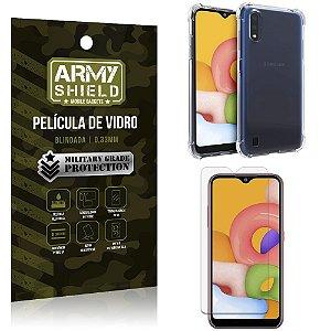 Capinha + Película de Vidro Blindada  Galaxy A01 - Armyshield