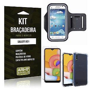 Braçadeira Sporte Galaxy A01 + Capinha Anti Impacto + Película de Vidro - Armyshield