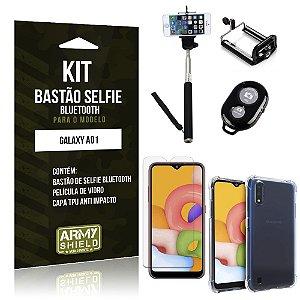 Bastão de Selfie Bluetooth Galaxy A01 + Capinha Anti Impacto +Película Vidro - Armyshield