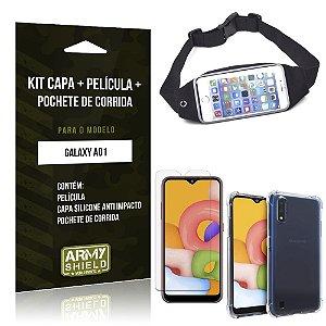 Pochete Galaxy A01 + Capinha Anti Impacto + Película de Vidro Blindada - Armyshield