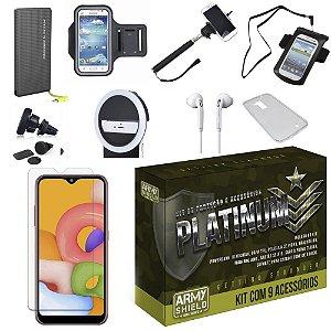 Kit Platinum Galaxy A01 com 9 Acessórios e PowerBank Tipo C - Armyshield