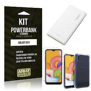 Carregador Portátil 5.000mah Galaxy A01 + Capinha + Película Vidro - Armyshield