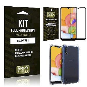 Combo Full Protection Galaxy A01 Película de Vidro 3D + Capa Anti Impacto - Armyshield