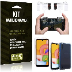 Kit Gatilho Gamer Galaxy A01 Gatilho + Capa Anti Impacto + Película Vidro - Armyshield