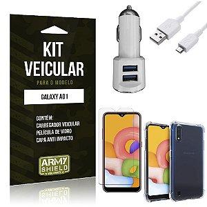 Kit Carregador Veicular Tipo C Galaxy A01 + Película Vidro + Capa Anti - Armyshield