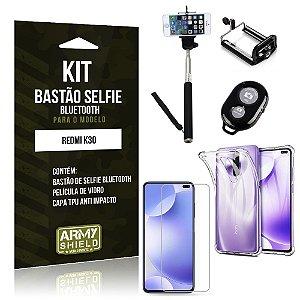 Bastão de Selfie Bluetooth Redmi K30 + Capinha Anti Impacto +Película Vidro - Armyshield