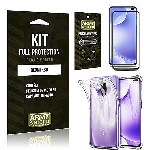 Combo Full Protection Redmi K30 Película de Vidro 3D + Capa Anti Impacto - Armyshield