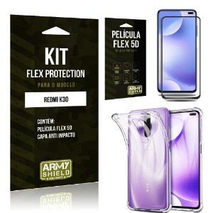 Kit Flex Protection Redmi K30 Capa Anti Impacto + Película Flex 5D - Armyshield
