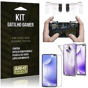 Kit Gatilho Gamer Redmi K30 Gatilho + Capa Anti Impacto + Película Vidro - Armyshield