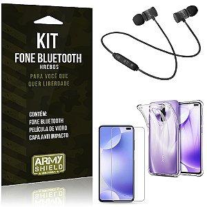 Kit Fone Bluetooth Hrebos Redmi K30 + Capa Anti + Película Vidro - Armyshield