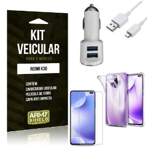 Kit Carregador Veicular Tipo C Redmi K30 + Película Vidro + Capa Anti - Armyshield