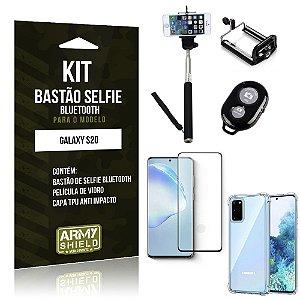Bastão de Selfie Bluetooth Galaxy S20 + Capinha Anti Impacto +Película Vidro 3D - Armyshield