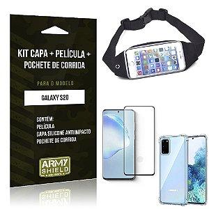 Pochete Galaxy S20 + Capinha Anti Impacto + Película de Vidro 3D - Armyshield