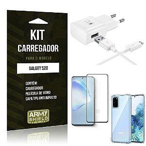 Kit Carregador Galaxy S20 Tipo C + Capa Antishock + Película de Vidro 3D - ArmyShield