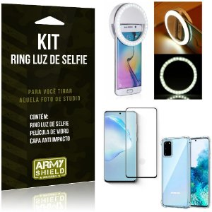 Kit Flash Ring Galaxy S20 Flash Ring + Capa Anti Impacto + Película de Vidro - Armyshield