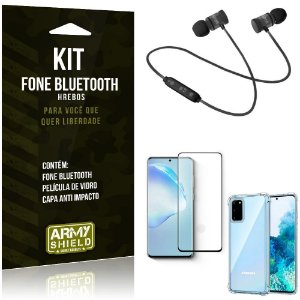 Kit Fone Bluetooth Hrebos Galaxy S20 + Capa Anti + Película Vidro - Armyshield
