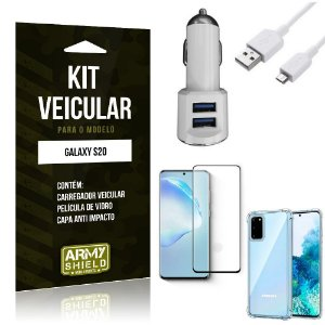 Kit Carregador Veicular Tipo C Galaxy S20 + Película Vidro + Capa Anti - Armyshield