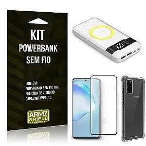 Kit Powerbank Sem Fio 10.000mAh Galaxy S20 + Capa Anti Impacto + Película Vidro 3D - Armyshield