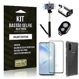 Bastão de Selfie Bluetooth Galaxy S20 Plus+ Capinha Anti Impacto +Película Vidro 3D - Armyshield