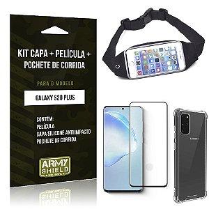 Pochete Galaxy S20 Plus + Capinha Anti Impacto + Película de Vidro 3D - Armyshield
