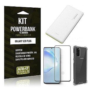 Carregador Portátil 10.000Mah Galaxy S20 Plus+ Capinha + Película Vidro 3D- Armyshield
