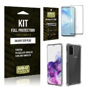 Combo Full Protection Galaxy S20 PlusPelícula de Vidro 3D + Capa Anti Impacto 3D - Armyshield