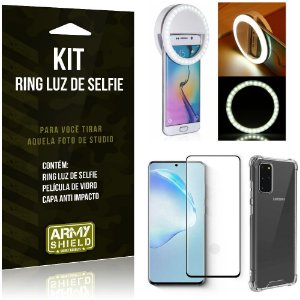 Kit Flash Ring Galaxy S20 Plus Flash Ring + Capa Anti Impacto + Película de Vidro - Armyshield